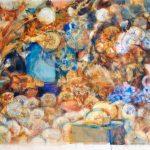 Semillas y flores azules, 2008. Acuarela, carbón y temple de cera, 56 x 76 cm