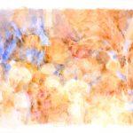 Jardín con plumeritos azules VI, 2004. Acuarela, 50 x 70 cm