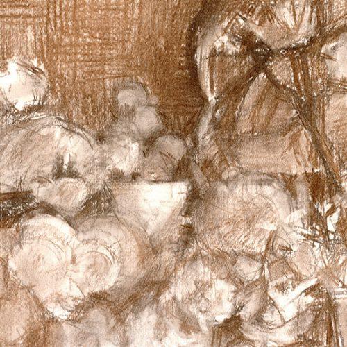 Jardín con jarrón blanco l, 2003. Carbón, 30 x 41cm