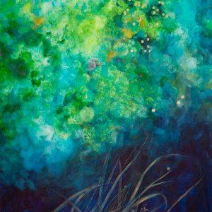 Vegetación marina, 2012. Acuarela, pastel tiza y lápiz metalizado, 140 x 100 cm