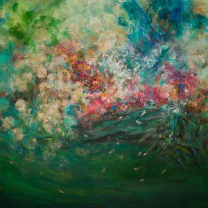 Tejido de flores, 2012. Acuarela, pastel tiza y materiales metalizados, 140 x 140 cm