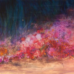 Suelo, 2012. Acuarela, pastel tiza y lápices metalizados, 70 x 140 cm