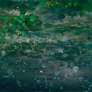 Corriente océanica, 2012. Acuarela, pastel tiza, pastel óleo, grafito, pasteles y lápices metalizados, 70 x 100 cm