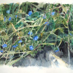 Flores azules y sol, 2009. Carbón, acuarela y temple de cera, 56 x 76 cm
