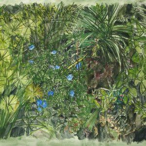 Flores azules III, 2009. Carbón, acuarela y temple de cera, 70 x 100 cm