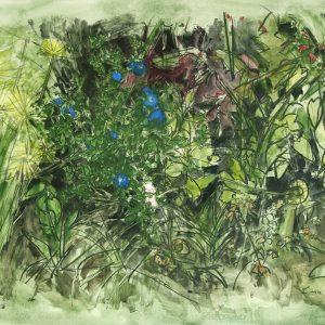 Flores azules II, 2009. Carbón, acuarela y temple de cera, 70 x 100 cm