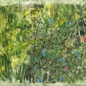 Flores azules IV, 2009. Carbón, acuarela y temple de cera, 70 x 100 cm