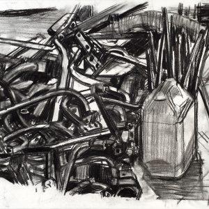 Hierros, 2006. Carbón, 56 x 76 cm