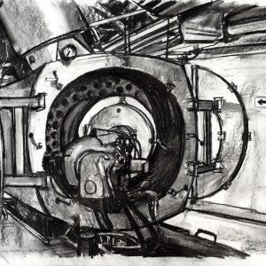 Incinerador, 2005. Carbón, 56 x 76 cm