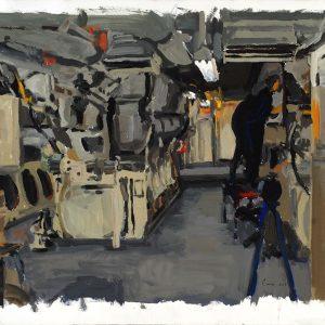 Trabajo en el motor 4, 2005. Témpera, 50 x 70 cm