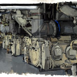 Motores diesel principales II, 2005. Carbón, 56 x 76 cm