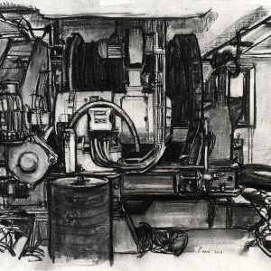 Máquina de remolque del Rompehielos, 2005. Carbón, 56 x 76 cm