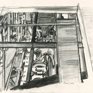 Primer dibujo máquinas, 2005. Carbón, 25 x 35 cm