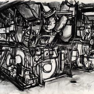 Dos motores diesel principales, 2005. Carbón, 56 x 76 cm