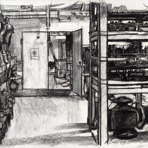 Repuestos de máquinas, 2005. Carbón, 56 x 76 cm