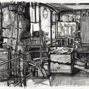 Plataforma de máquinas, 2006. Carbón, 56 x 76 cm