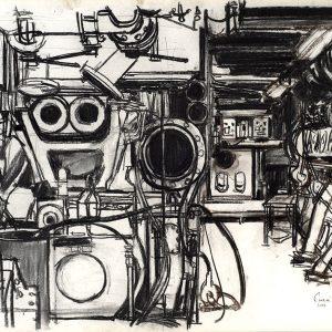 Motor abierto, 2005. Carbón, 56 x 76 cm