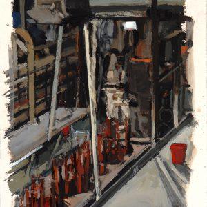 Tacho rojo, 2005. Témpera, 35 x 25 cm
