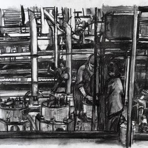 Trabajo en los cilindros, 2005. Carbón, 56 x 76 cm