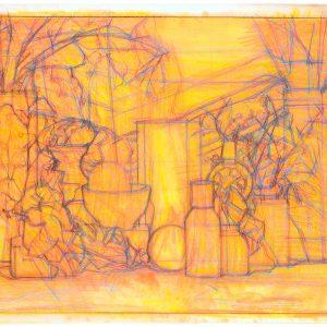 Frascos y pelota roja, 2003. Grafito, 50 x 70 cm