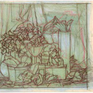 La habitación, 2003. Grafito, 56 x 76 cm