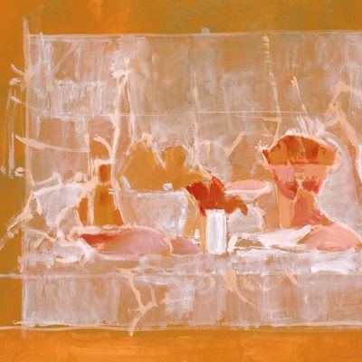 Pétalos rojos con encajes y caracoles, 2003. Tempera, 40 x 50 cm