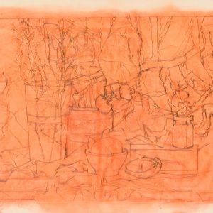 Vaso, caja y orquídeas, 2003. Grafito, 56 x 76 cm