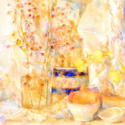 Vaso, caja y orquídeas, 2003. Acuarela, 56 x 76 cm