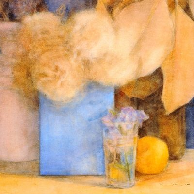 Panadero, caja azul y ciruela amarilla, 2002. Acuarela, 76 x 56 cm