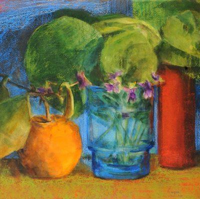 Naranja y violetas, 2006. Acuarela y pastel tiza, 56 x 76 cm