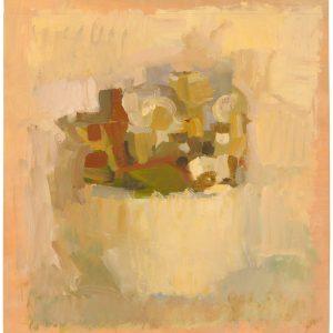 Mortero con flores y hojas, 2002. Témpera, 60 x 53 cm