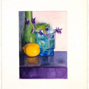 Violetas y limón, 2000. Acuarela, 76 x 56 cm