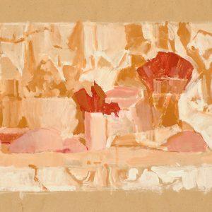 Pétalos rojos II,  2003. Témpera, 50 x 70 cm