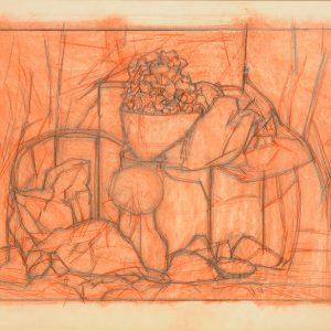 Ciudad nocturna, 2003. Grafito, 56 x 76 cm