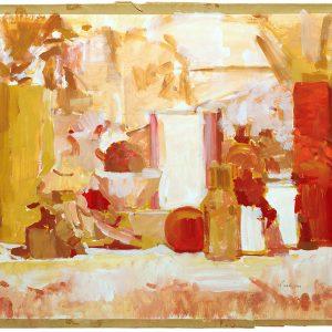Frascos y pelota roja, 2003. Témpera, 50 x 70 cm