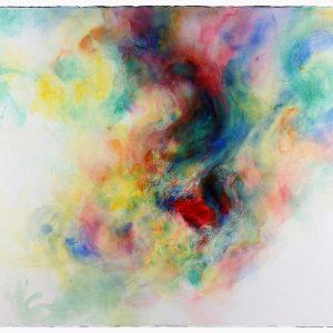 Nube roja, 2011. Acuarela y grafito sobre papel, 56 x 76 cm