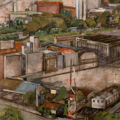 Galpones del puerto, 2002. Témpera, 100 x 153 cm