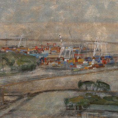 Espigones con grúas, 2002. Témpera, 72 x 136,5 cm