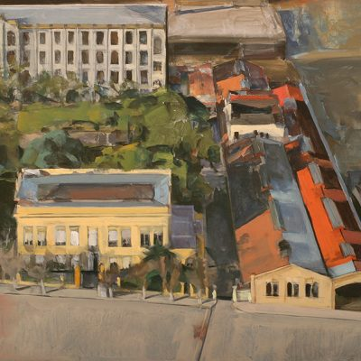 Casa amarilla, 2002. Témpera, 52 x 64 cm