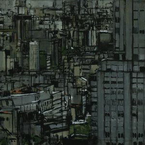Ciudad y torre, 2005. Témpera, 60 X 80 cm