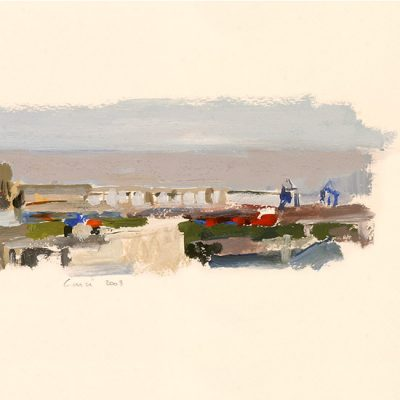 Río y Puerto, 2003. Témpera, 24 x 32 cm
