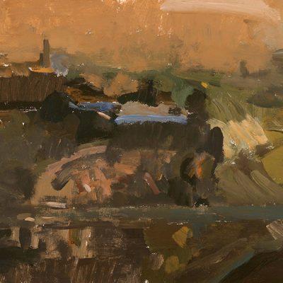 Retiro al atardecer, 2003. Témpera, 50 x 69 cm