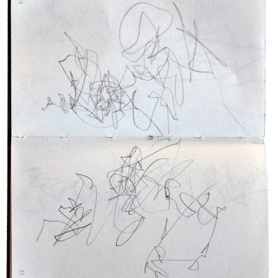 Sismos gráficos. Cuaderno turquesa, 2016. Grafito, 11 x 7 cm