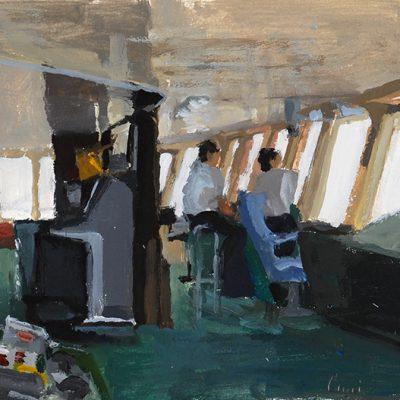 9-1-2006, Navegando a Belgrano II - Día 7, 2006. Tempera, 25 x 35cm
