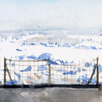 22-1-2006, proa al norte. Volviendo popa. Día 20, 2006. Acuarela, 25 x 35 cm