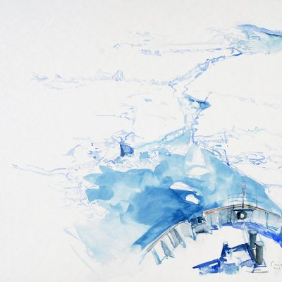 15-1-2006, El buque rompiendo hielo a 65 km de Belgrano II, Día 13, 2006. Acuarela, 42 x 56 cm