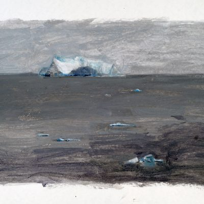 10-1-2006, Día 8, el cruce del Círculo Polar, 2006. Témpera, 42 x 56 cm