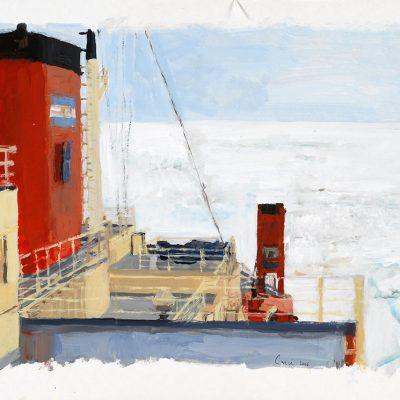 27-1-2006, Estamos rodeados por el hielo. Día 25, 2006. Témpera, 42 x 56 cm