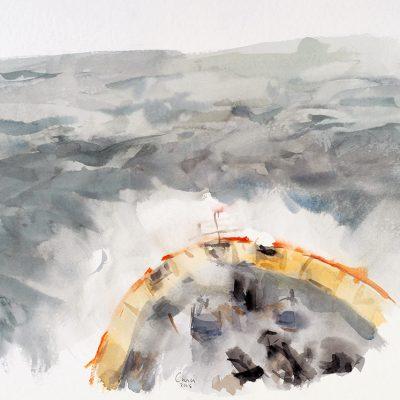 8-2-2006, Océano hacia Ushuaia. Día 37, 2006. Acuarela, 42 x 56 cm