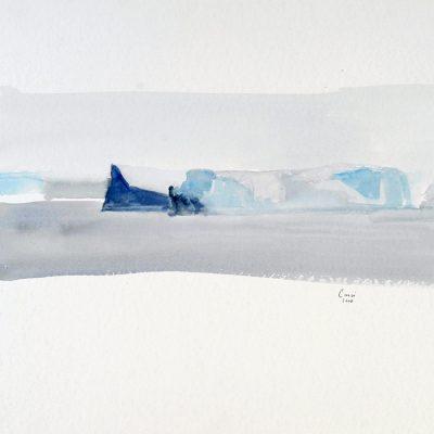 2-2-2006, Témpanos cerca de la barrera. Día 31, 2006. Acuarela, 42 x 56 cm